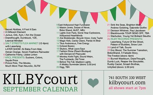 SEPTEMBER 2010 Kilby Calendar
