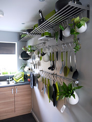 Extremely small galley kitchen storage (weaselfactory) Tags: england white house london ikea dogs modern loft grey orchids little contemporary small minimal retro clean rack tiny lime shelves ilford minimalist bodum racking nontraditional galleykitchen josephjoseph