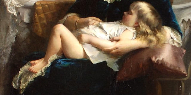 Fanny Fluery (French, 1848-1920) Bebe dort (1884) 83 X 57 in. Oil on canvas. Anthony's Fine Art, Salt Lake City, UT DETAIL
