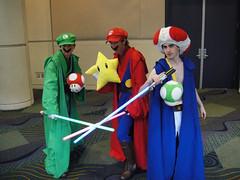 Star Wars Celebration V - Luigi, Mario, and Toad Jedi costumes (Doug Kline) Tags: mushroom star fan starwars costume orlando florida 5 mario celebration v toad convention jedi fl bros luigi