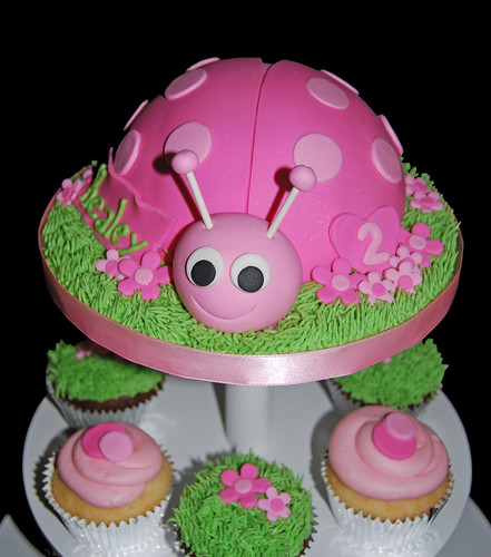Pink Ladybug Cupcake Tower for 2nd Birthday