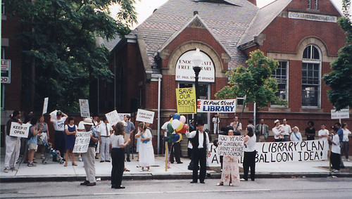 Protesting the closure of Pratt Branch No. 6