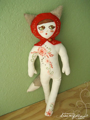 petite rouge (merwinglittle dear) Tags: show seattle red tree art tattoo toy stuffed hug doll little you handmade embroidery ooak craft plush riding hood 2010