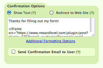 RewardLevel Snippet in Confirmation settings