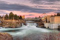 Spokane Falls sunset (NikonDigifan) Tags: washington nikon spokane nik hdr spokaneriver d300 easternwashington photomatix spokanefalls colorefexpro viveza hdraddicted mikegassphotography