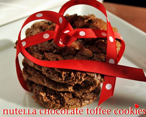 Nutella Chocolate Toffee Cookies