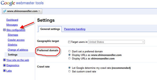 Google Webmaster Tools - setting a preferred domain