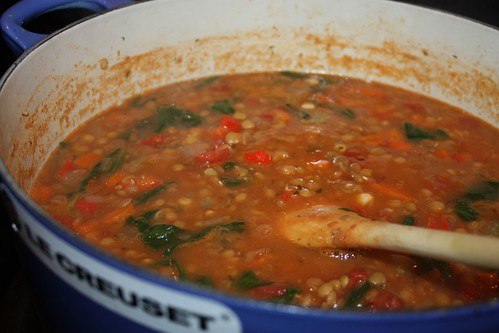 Spinach, Tomato and Lentil Soup