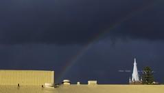 Rainbow Rooves (Padmacara) Tags: g11 rooves rainbow steeple crane tree sky clouds dark sunshine shadowlight