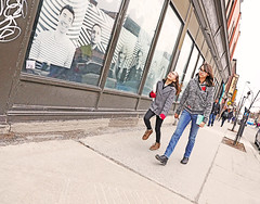 Montréal (kirstiecat) Tags: happy happiness friendship girls montréal quebec canada canadian canon street adventure movement skipping