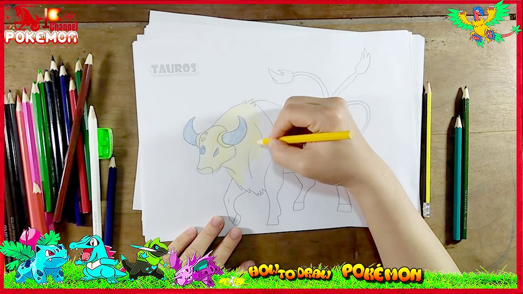 Draw Color Paint Cute TAUROS POKEMON Cartoon Coloring Pages How To For Kids Quynhducle19852017