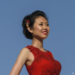 The bride wore red #2 (BAN - photography) Tags: bride beautifulgirl hairpin reddress brunette redlipstick smile d810