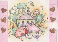 For my daughter (Mugwort's Castle) Tags: cats house leaves hearts mixedmedia coloredpencil smilingsun