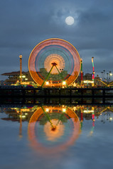 San Diego County Fair (Lee Sie) Tags: park blue orange moon reflection water night del clouds lights amusement mar fairgrounds sandiego cloudy neonlights ferriswheel rides rollercoaster delmarfair sandiegocountyfair leesie tresle