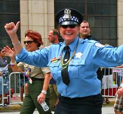 Chicago Policewoman in the Pride Parade (stormdog42) Tags: gay urban chicago march illinois crowd police pride parade lgbt