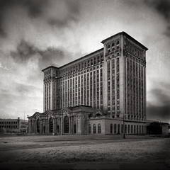 Michigan Central Station (Jeff Gaydash) Tags: blackandwhite abandoned square ruins detroit trainstation mcs michigancentralstation michigancentraldepot