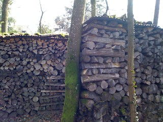 wood stack road noise barrier