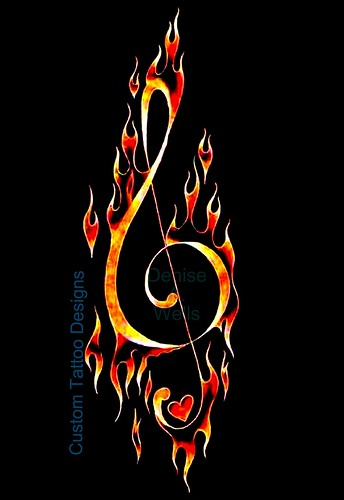 """Fiery Treble Clef"" by Denise A. Wells · ""FireClef Hearts"" Tattoo Designs"