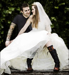boots (Black Cat Photos) Tags: uk wedding england rock blackcat photography photo couple europe dress boots tattoos m alternative studs rockon tats whitewedding guyliner blackcatphotography blackcatphotos