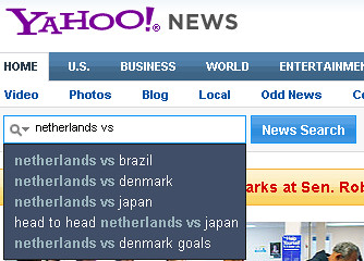 Yahoo! news search real time suggestion