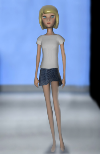 "Low polygon slim girl for ""fashion city"" (game) on facebook"