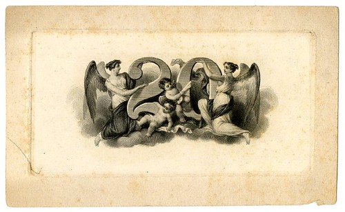 Two female winged figures and two children surrounding a large number 20. Design printed in black. (19th c.)
