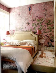 david-kaihoi-house-beautiful-bedroom (mscott218) Tags: pink wallpaper house beautiful design bedroom interiors interior walls chinoiserie interiordesign eclectic housebeautiful sconces