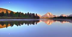 Oxbow Bend, Grand Teton National Park (Ryan C Wright) Tags: summer mountains reflection sunrise fullmoon snakeriver wyoming mountmoran tetons hdr jacksonhole grandtetonnationalpark oxbowbend ryanwright ryanwrightphotography httpryanwrightphotophotosheltercom