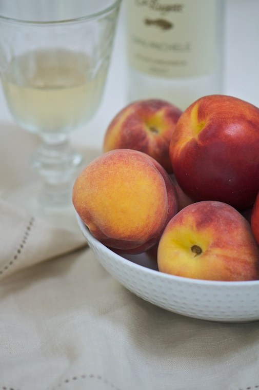 peaches and wine