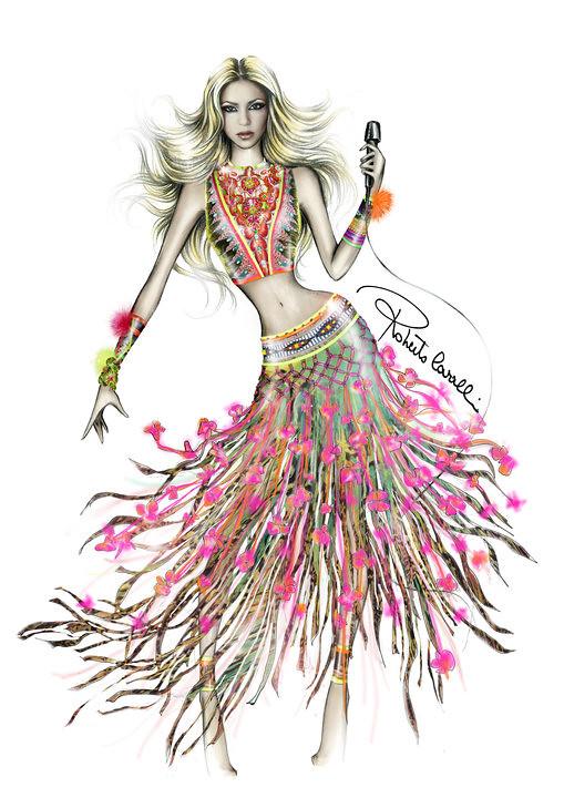 Peacock Dancing Sketch Vestido de shakira par...