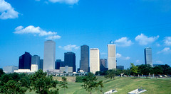 Houston - More of the Skyline (1978) (roger4336) Tags: park skyline downtown texas shell houston 1978 exxon oneshellplaza exxonbuilding sabinepark
