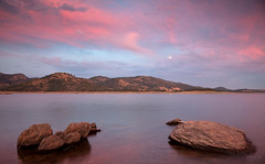 Summer Sunset (Ellie Stone) Tags: pink sunset summer sky moon lake nature water photo rocks serenity local discovery newhogan