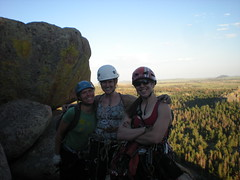 Jenny, Jen, and Clare Summit of Ed's Crack (5.7)
