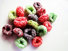 Loopy (Monique Barber) Tags: blue stilllife orange yellow breakfast colorful yum purple sweet vibrant cereal vivid sugar colourful crunchy confectionery brightred frootloops breaky