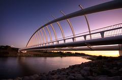 Our Very Own Bridge to Nowhere (Mark Solly (F-StopNinja)) Tags: bridge blue sunset sky water river vanishingpoint rocks footbridge dusk reserve waiwhakaiho lakerotomanu terewarewa