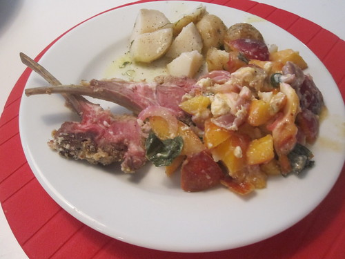 Cold lamb, nectarine and mozza salad, potatoes