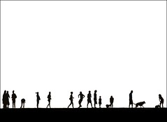 The Parade! (adrians_art) Tags: people bw dogs monochrome kent silhouettes statues canine popart cameo whitstable posterart
