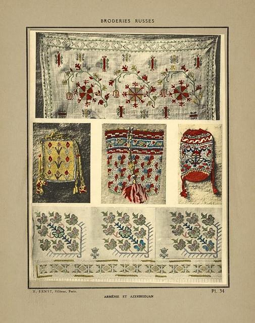 011- Paños bordados y tres bolsas-Armenia.-Broderies russes tartares armeniennes 1925