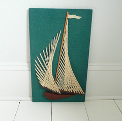 String Art Sailboat (TheVintageCabin) Tags: old sailboat vintage boat 60s retro thrift 70s secondhand finds stringart thrifted
