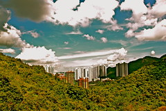 Tsing Yi Natural Trail (ClemSauce) Tags: blue trees sky mountains hot green clouds buildings landscape view natural hiking sunny hong kong trail overlooking yi tsing