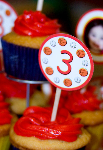 Sports ball cupcake topper