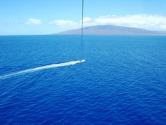 Parasailing in Maui (25) (Herb In Hawaii) Tags: ocean blue sea sky usa water clouds island hawaii boat video high waves pacific speedboat air platform sunny bluesky maui pacificocean goofingoff parasail hanging gliding motorboat lahaina parasailing sunnyday parachute towed openwater bluesea