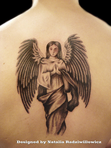 Guardian Angel on back tattoo by Miguel Angel tattoo