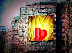 heart. (the87thfloor) Tags: blue red building sign yellow concrete lomo lomography construction billboard