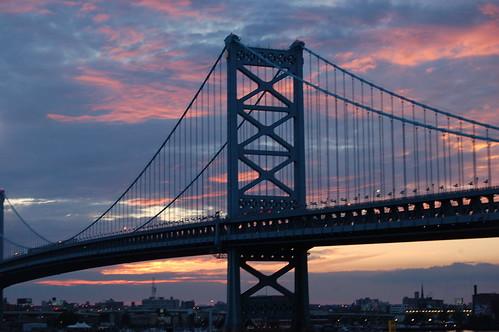 Ben Franklin Bridge at Sunset