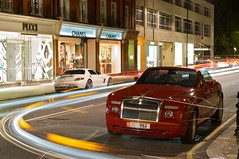 Rolls and SLS (Luke Alexander Gilbertson) Tags: london mercedes benz nikon long exposure raw power tripod uae knightsbridge 63 exotic arab londres rolls phantom londra rare f28 v8 royce 62 sls amg v12 giotto 2470 drophead d700