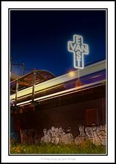East Vancouver Neon Graffiti (Kyle Bailey - Da Big Cheeze) Tags: streetart art vancouver canon graffiti neon cross style 7d skytrain tagging hdr bombing eastvan rapidtransit kylebailey rookiephoto dabigcheeze wwwrookiephotocom