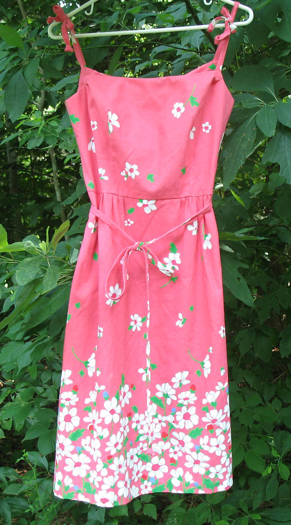 Vintage 1960s Malia of Honolulu Pink Hawaiian Dress with Flowers & Leaves, Lilly-Style