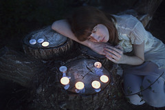 seances (rockie nolan) Tags: forest canon dark candles dress nolan 28mm nighttime 5d f18 rockie