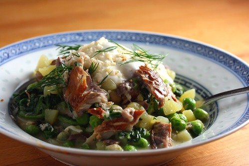 Potato and smoked mackerel risotto